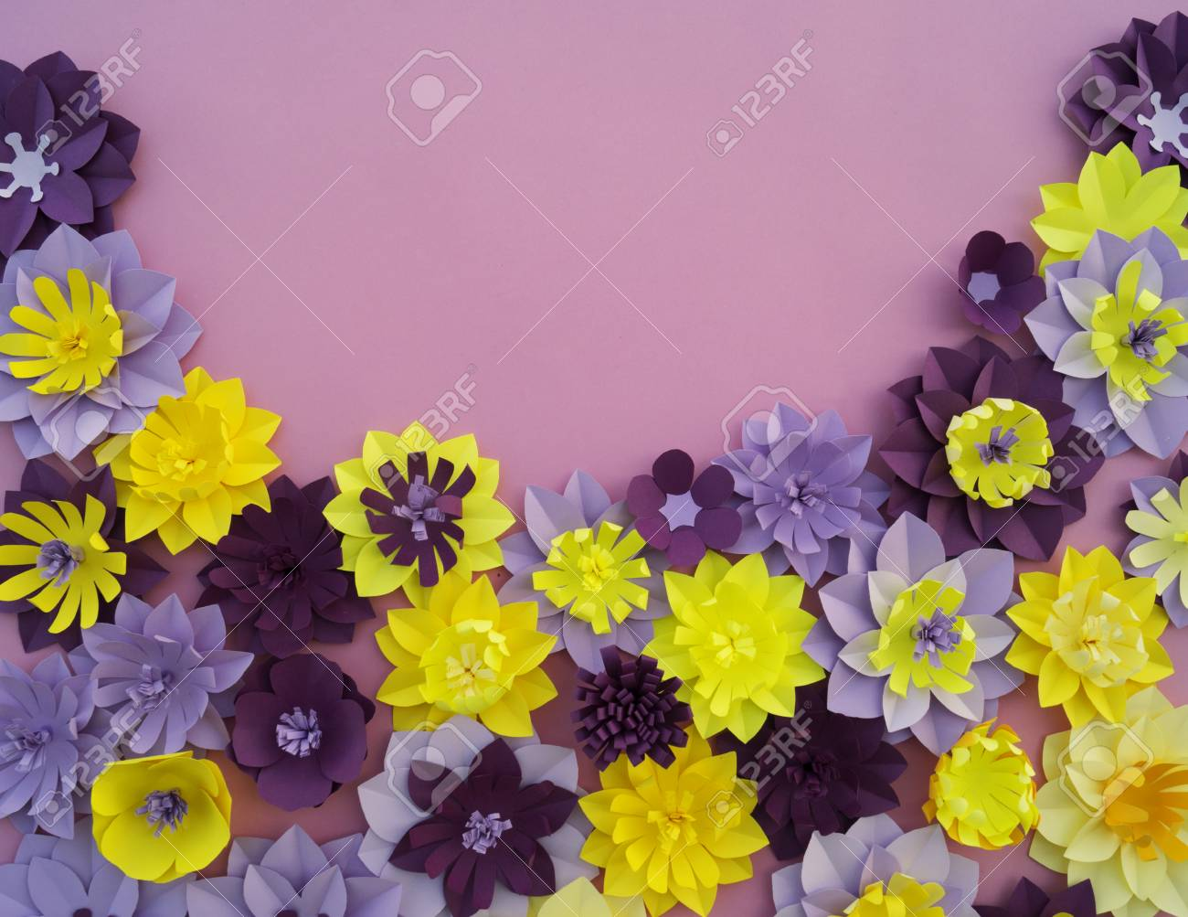 Paper Craft Flower Decoration Concept Flowers And Leaves Made