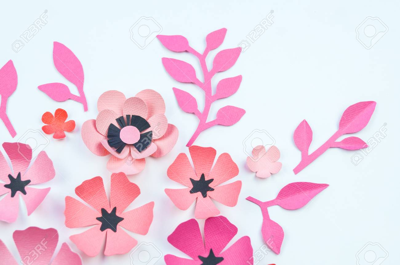 Flower And Leaf Of Pink And Black Color Made Of Paper Handwork