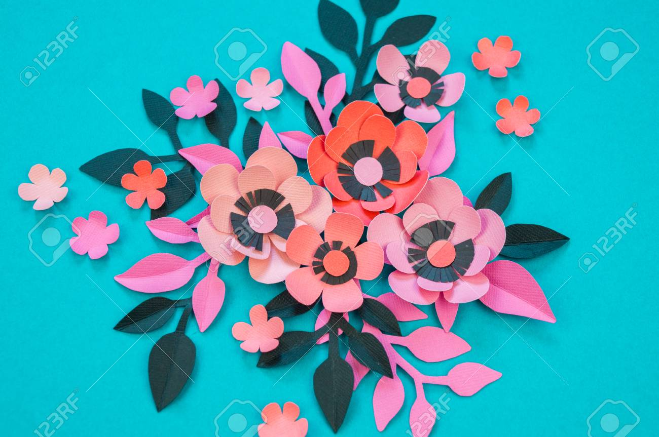 Flower And Leaves Made Of Paper On A Turquoise Background Handwork