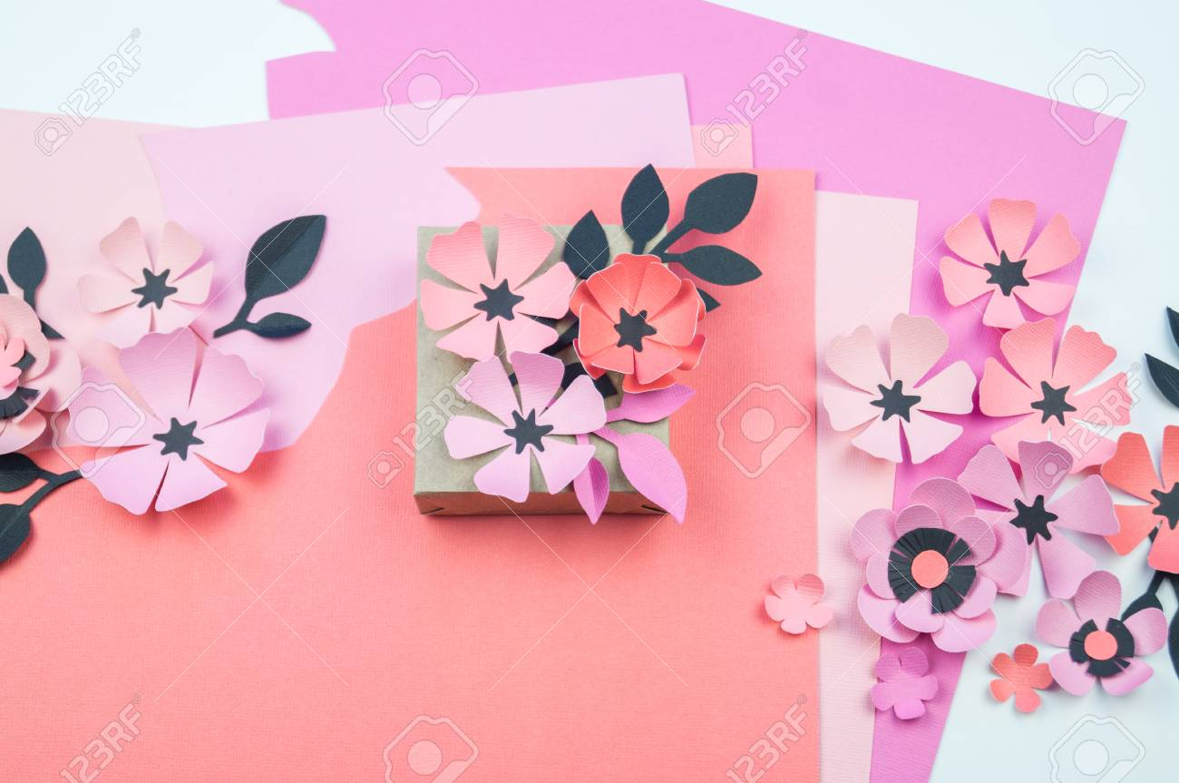 Packing A Festive Box With Ribbons And Flowers Flower Made Of