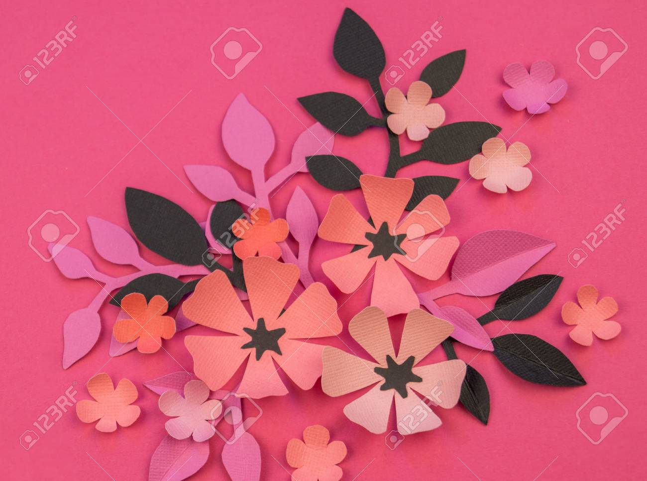 Flower And Leaves Made Of Paper On A Pink Background Handwork