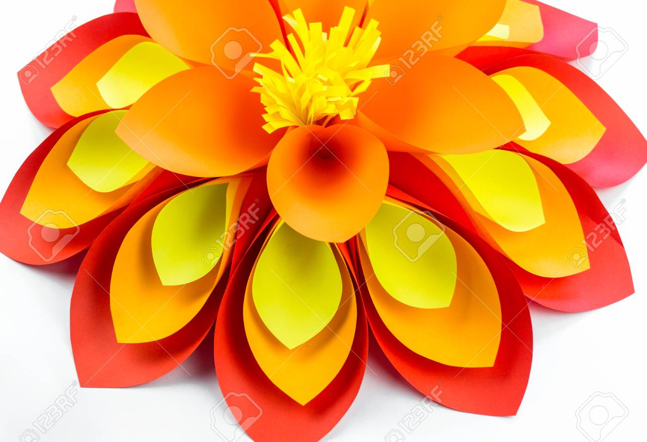 A Large Flower Made Of Paper Orange Red Yellow Colors Decor Stock
