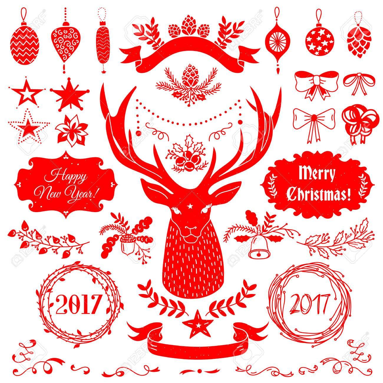 foto de archivo vector de navidad y ao nuevo juego de insignias cintas adornos iconos marcos etiquetas y elementos de diseo para tarjetas de