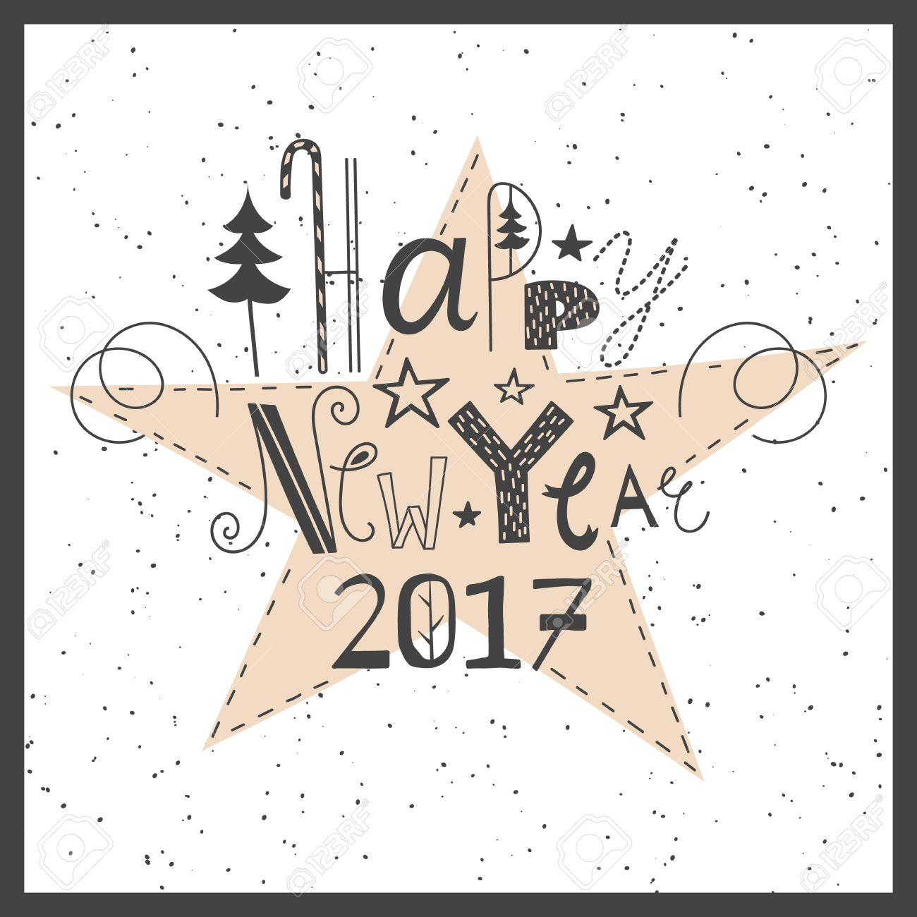 Vector Hand Drawn Lettering Sign Happy New Year 2017. Text Design ...