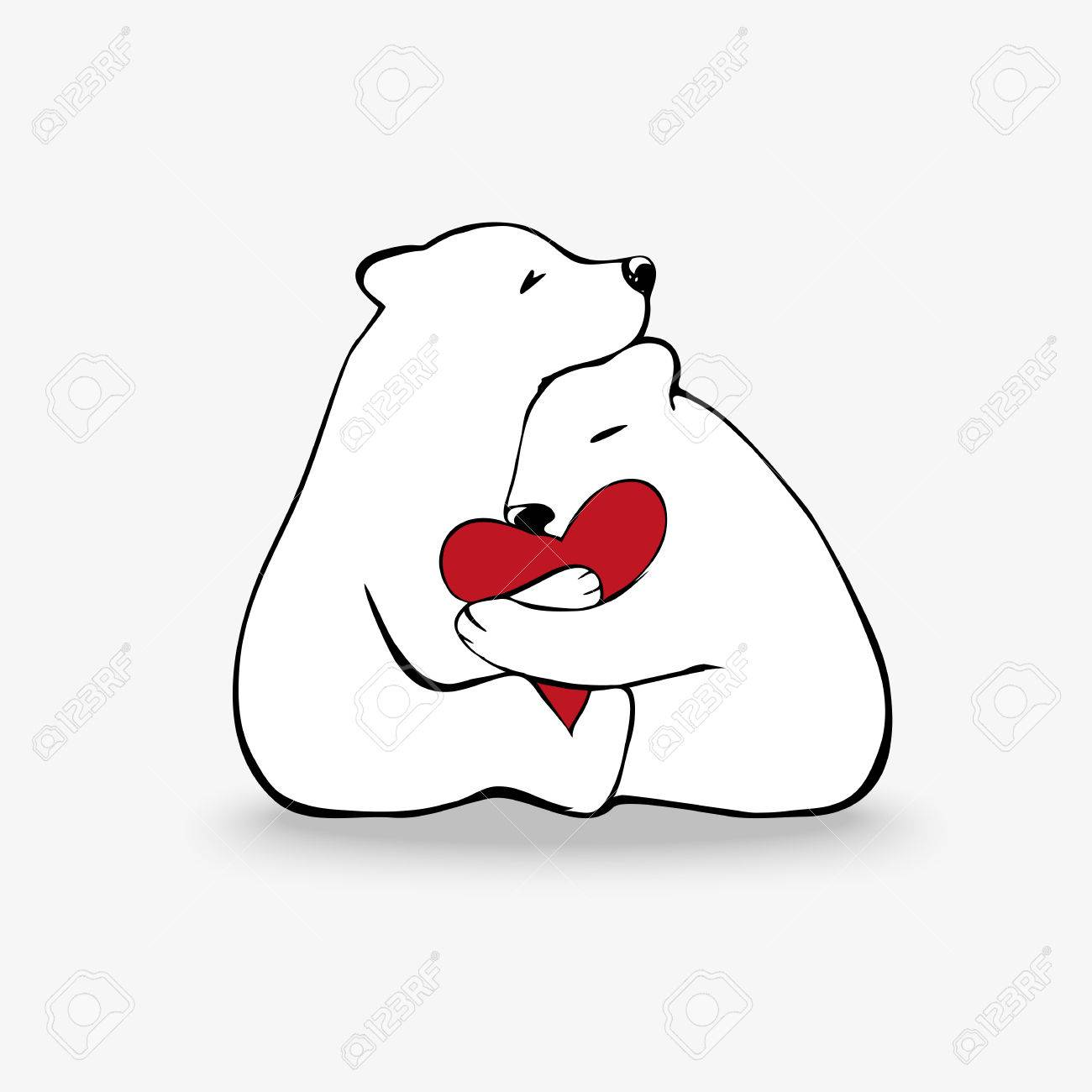hugging polar bears in love cute animal love theme illustration