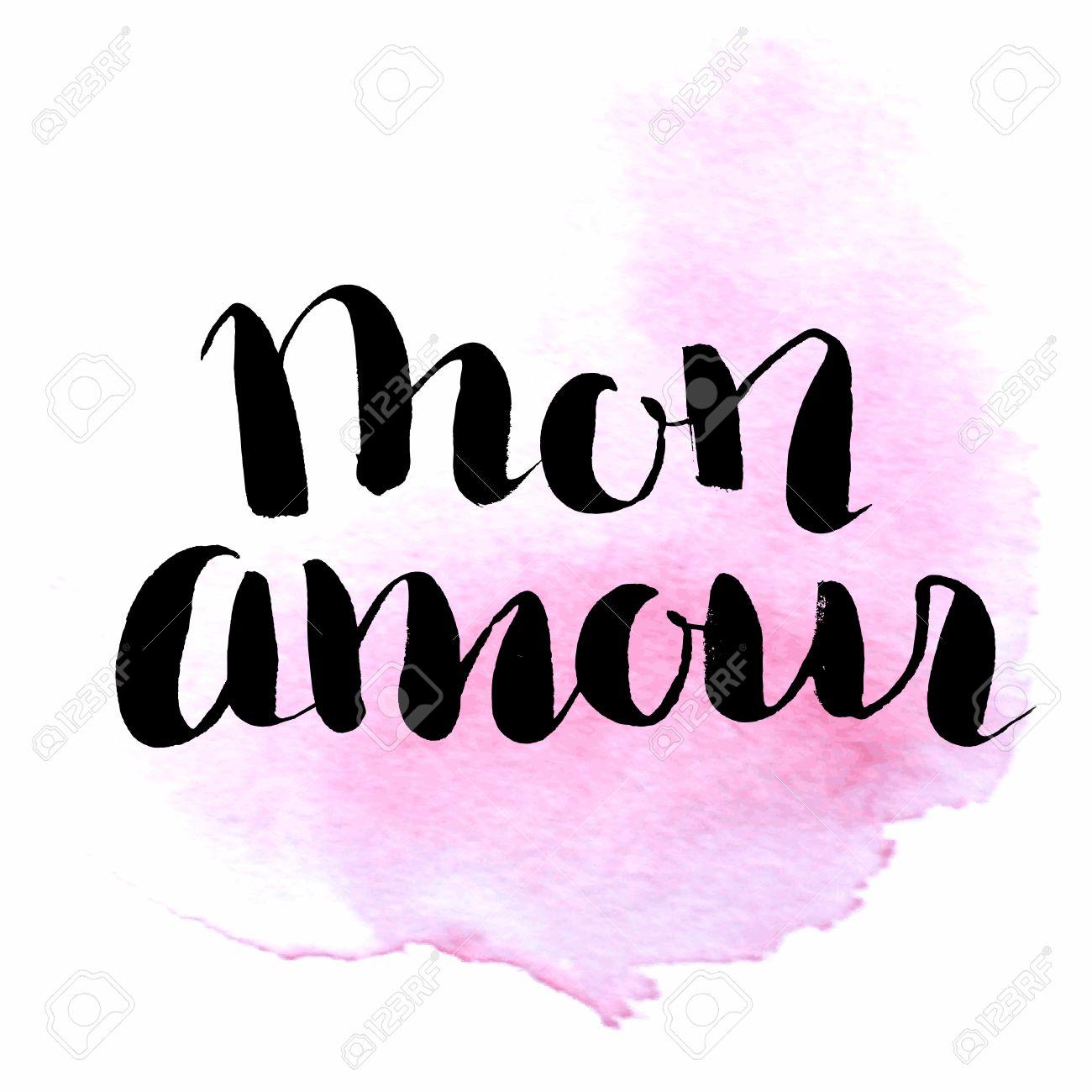 Mon Amour Letras De La Mano Citar Mi Amor En Francés Elemento Vector De La Caligrafía Moderna Para La Boda Y Tarjeta Del Día De San Valentín