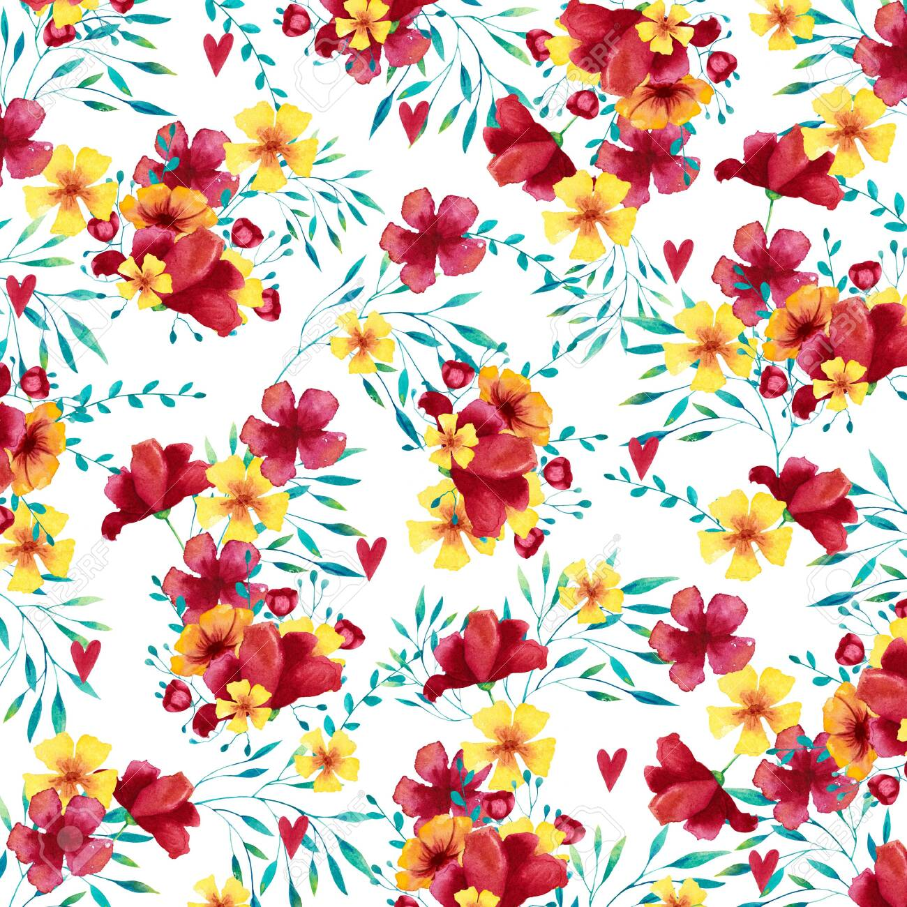Watercolor background (pattern) with tropical bouquets. Hand drawn illustration. - 128112091