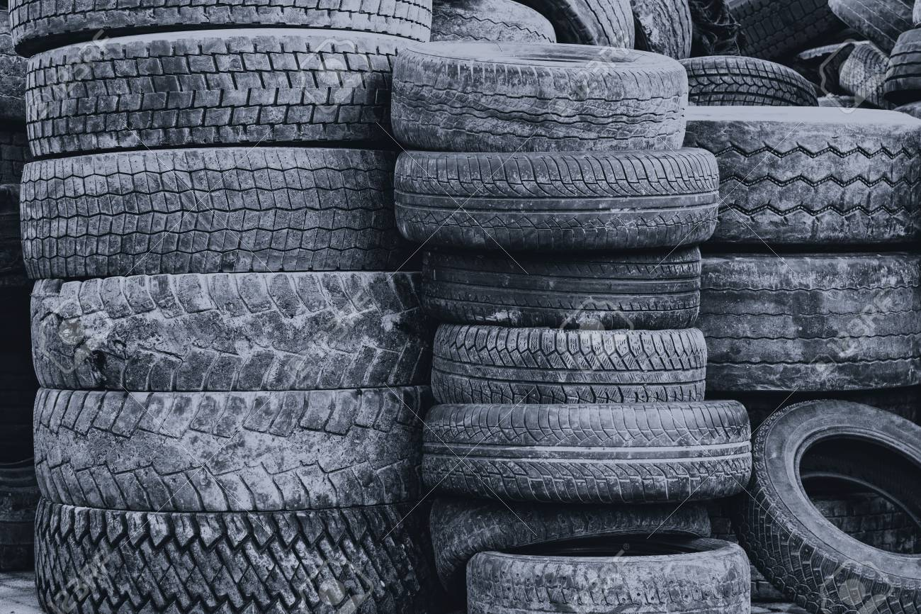 Used Car Tires >> Waste Of Used Car Tires Arranged In High Piles In The Tire Repair
