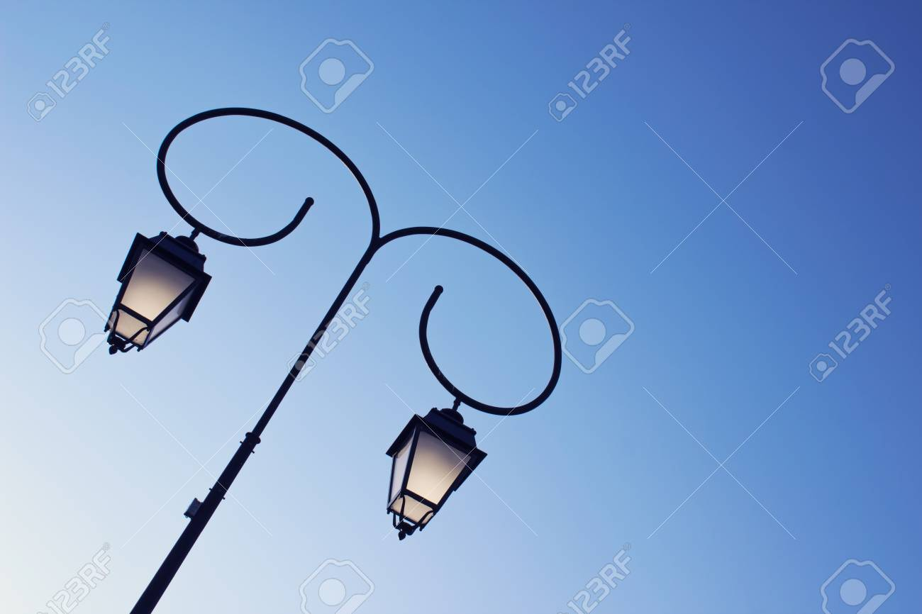 Beautiful Vintage Street Lamp In A Park On The Clear Blue Sky ...