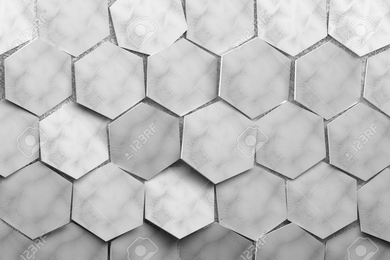 Hexagons. Large Hexagons With Craft Paper Texture In Gray Color ...