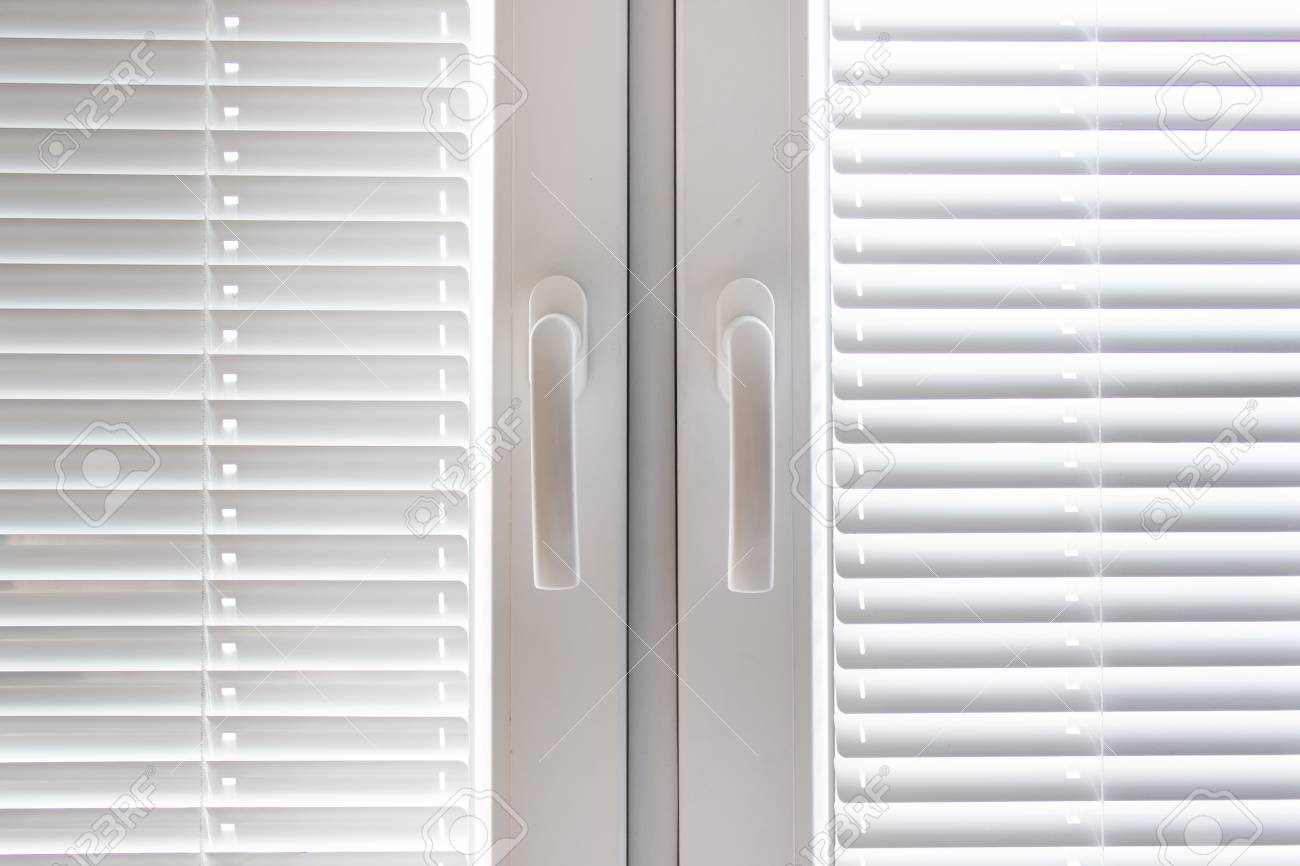White Plastic Windows With Blinds Jalousie And With Two Handles