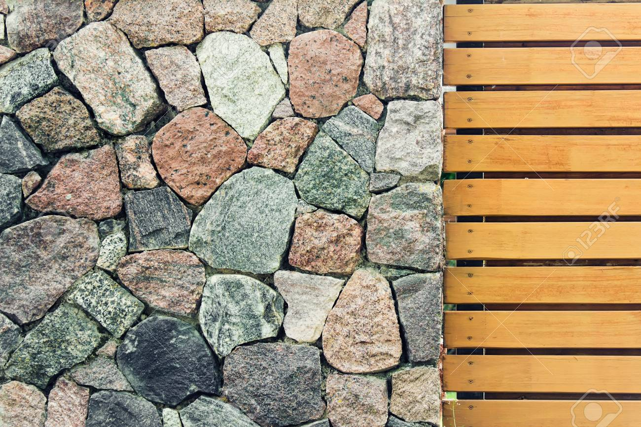 Stone Wall Made Of Decorative Ancient Old Looking Large Stones