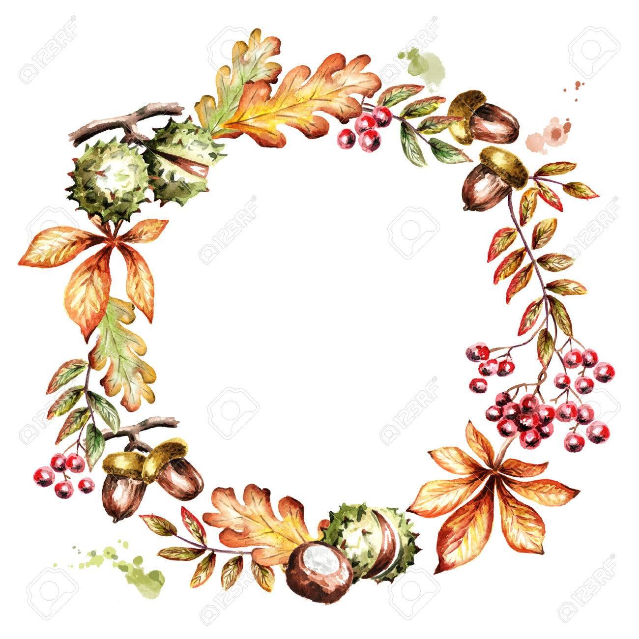 葉の秋のリースです水彩の手描きイラスト の写真素材画像素材 Image