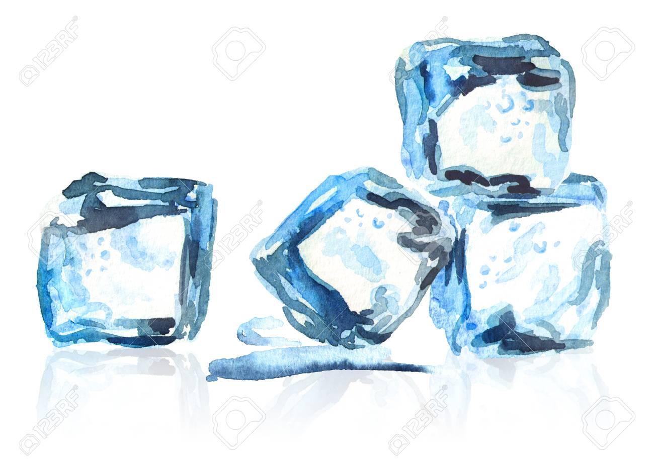 Composicao Isolada Dos Cubos De Gelo Mao Aquarela Desenho