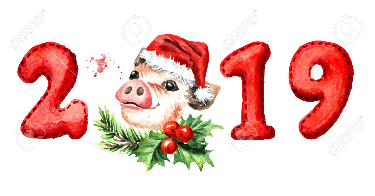 2019 happy new year banner cute pig with numbers zodiac sign watercolor hand