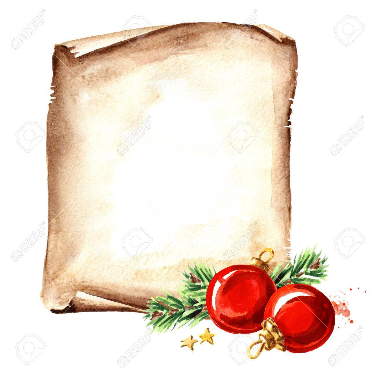 Scroll Template | Scroll Of Old Paper With Christmas Red Balls New Year Card Template
