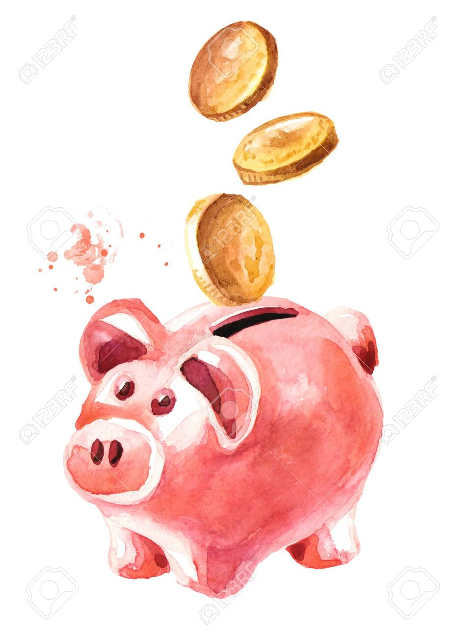 Piggy bank with coins falling into slot. - 131571307