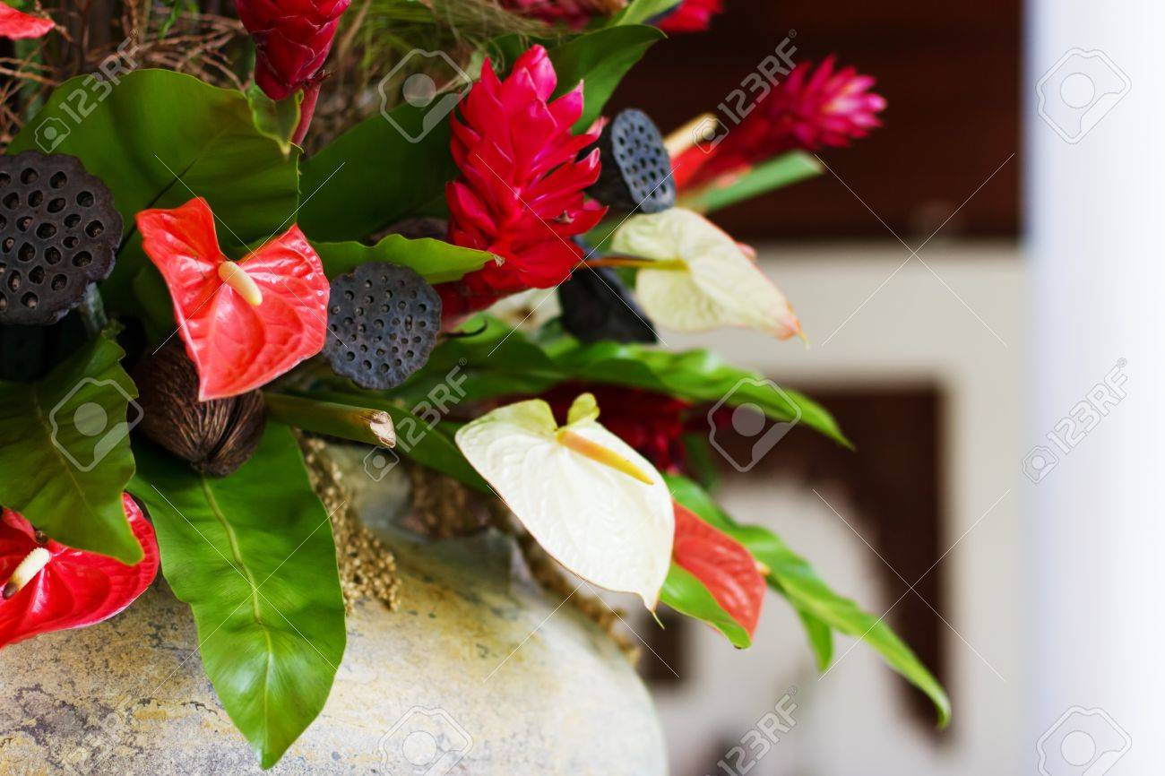 Flower Decor With Anthurium And Lotus Seeds Luxury And Elegant