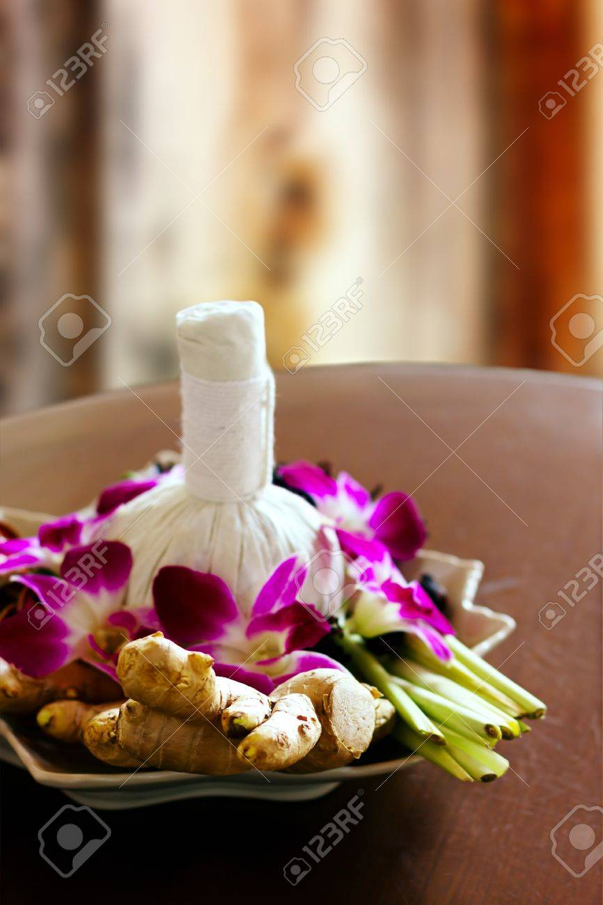 spa massage decoration herbal bag orchids decor stock photo 18218106 - Spa Decor