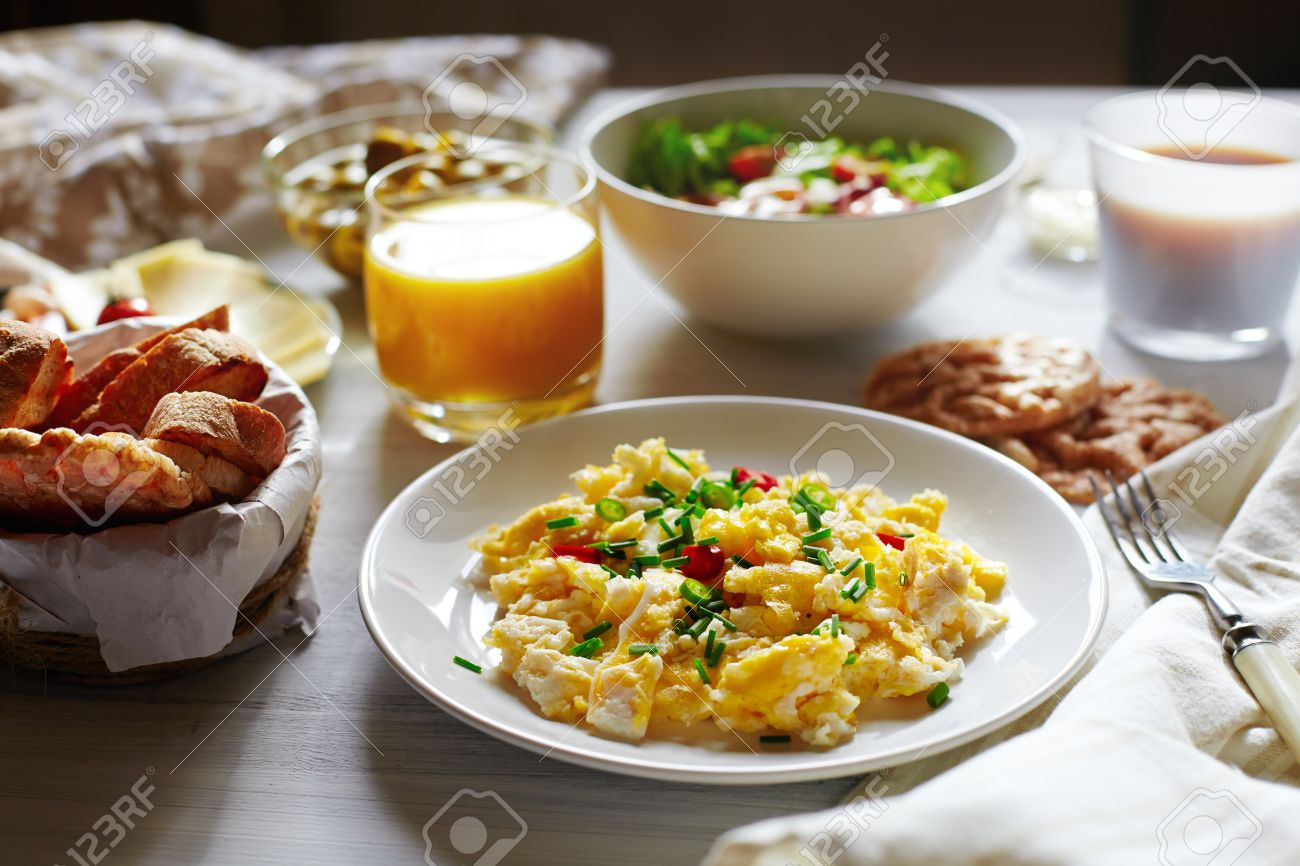 Fresh Breakfast Food Scrambled Eggs Bread Coffee And Orange Juice Cocept Of Nutritious Healthy