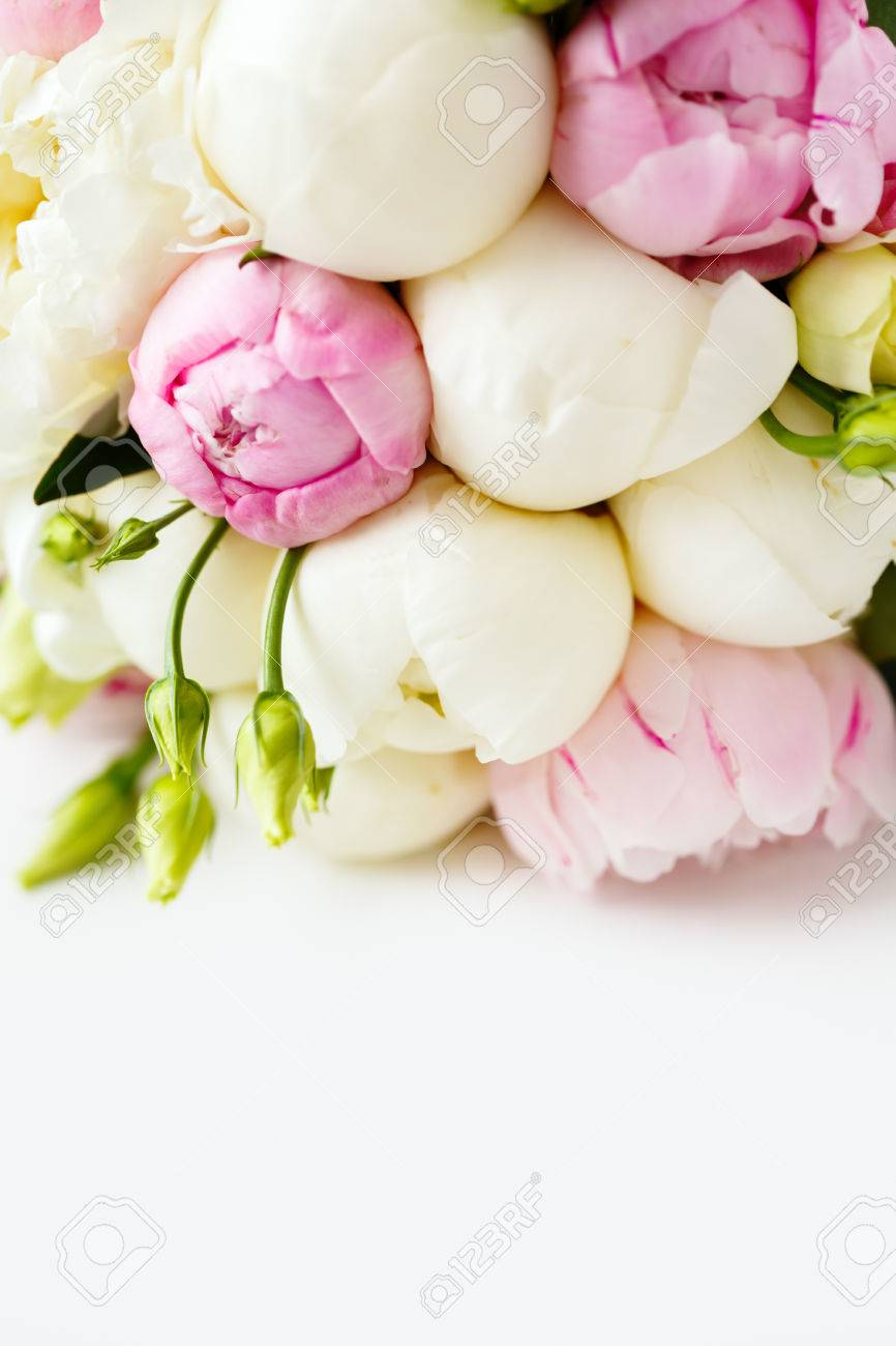 Wedding Bouquet Of Ranunculus And Peony Flowers On White Background ...