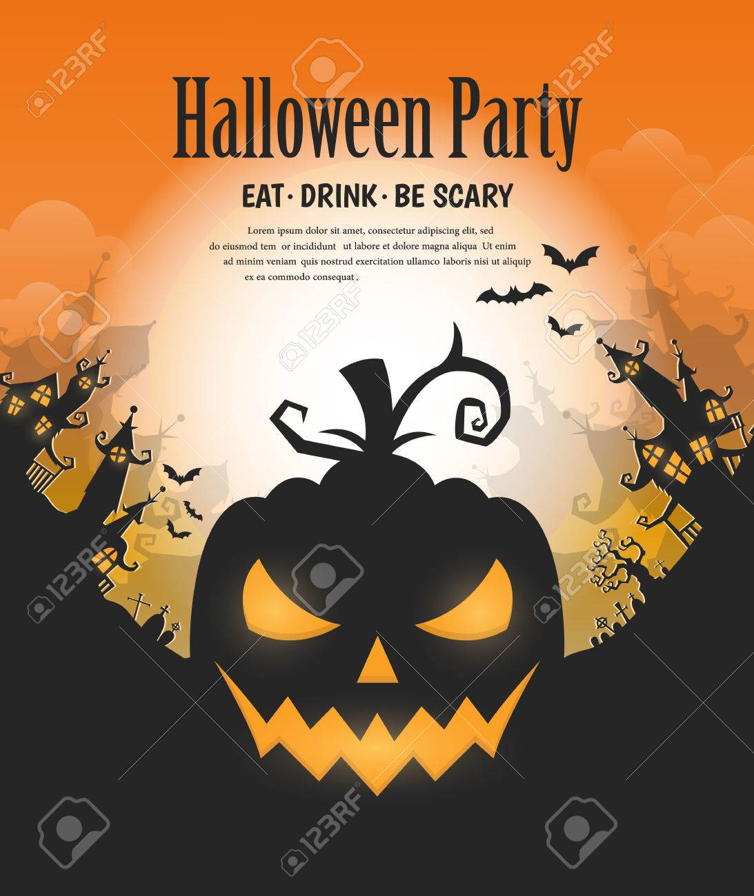 Vector Halloween Night Background With Pumpkins Scary Face And ...