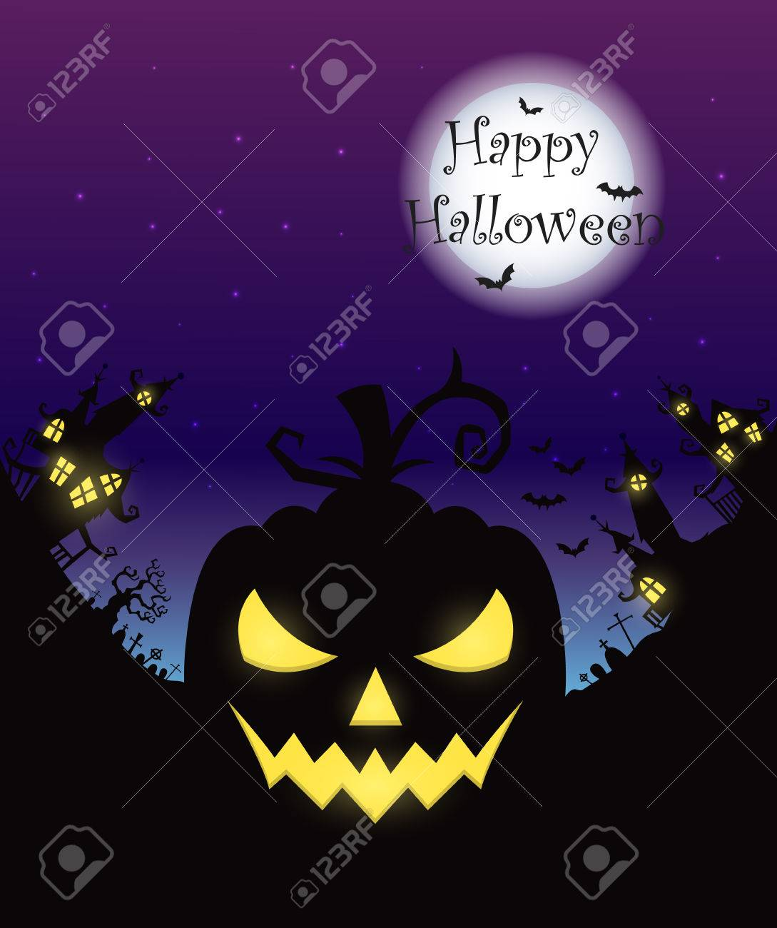 Vector Halloween Night With Pumpkins Scary Face And Creepy City ...