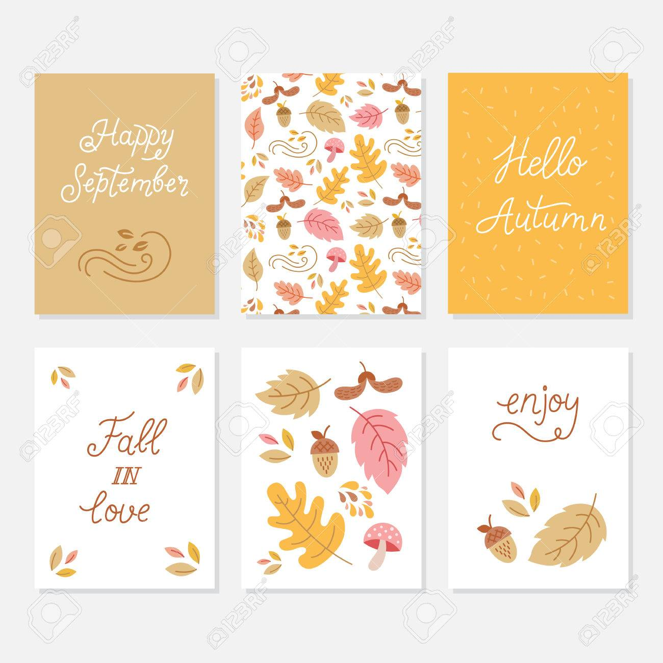 Happy September, Hello Autumn, Fall In Love, Enjoy   Phrases Set. Monoline  Calligraphy Quote Card Collection.