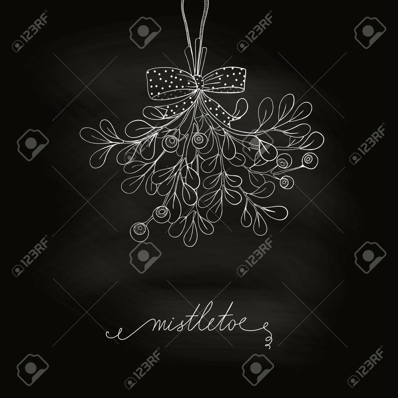 Hand Drawn Mistletoe In Blackboard Vector Christmas Plant Made Chalkboard Background Romantic
