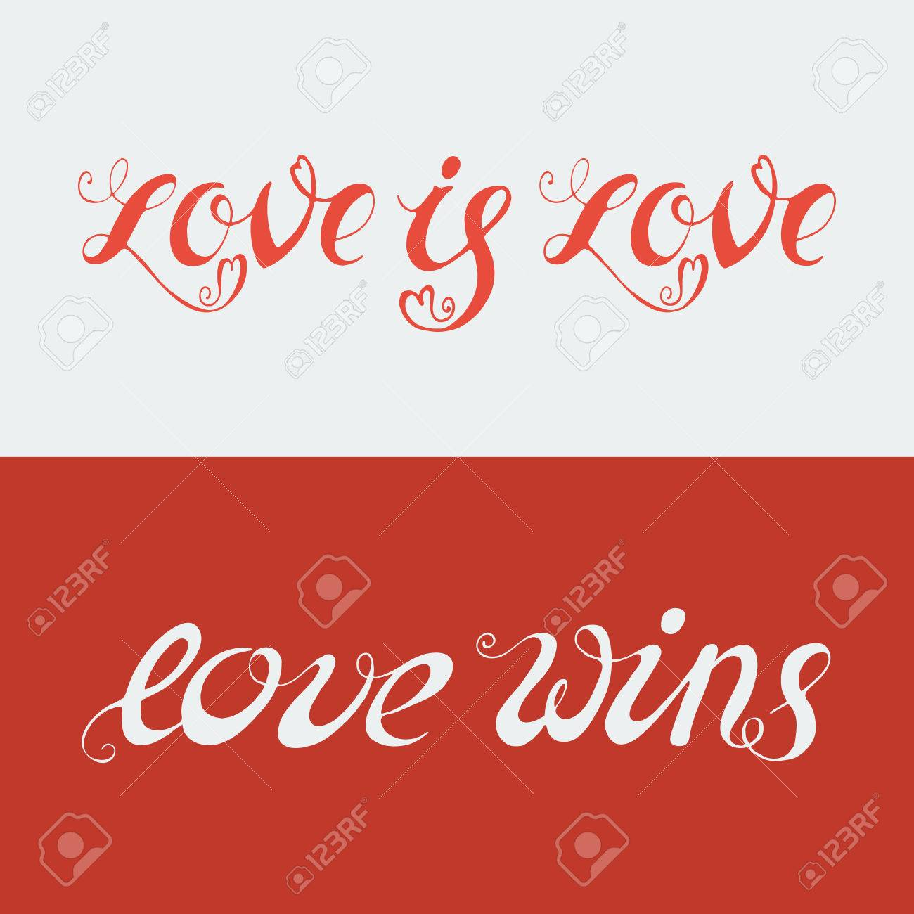 Hand Drawn Lettering - Love Is Love And Love Wins. LGBT Community ...