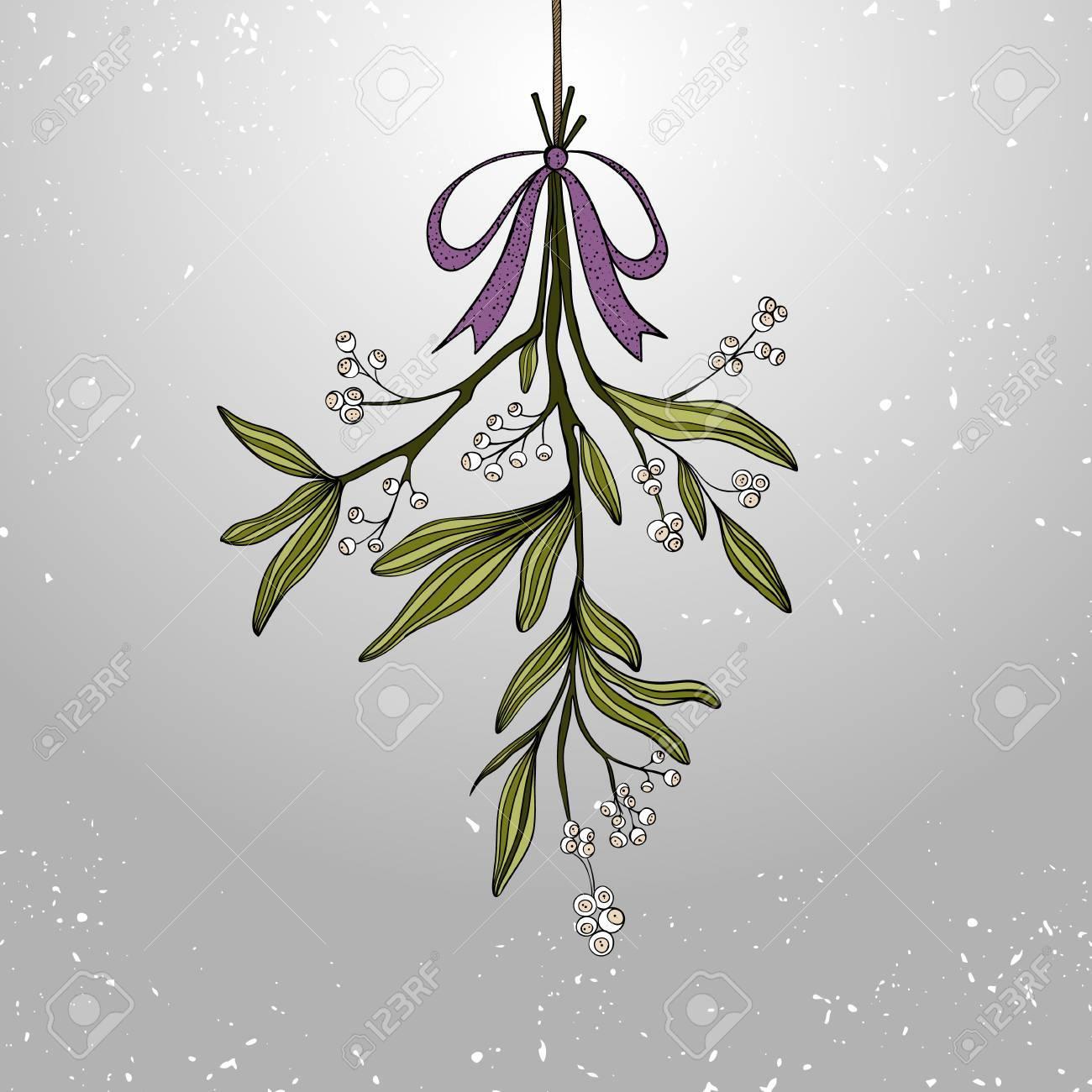 Hand Drawn Mistletoe. Vector Christmas Plant Background. Romantic ...