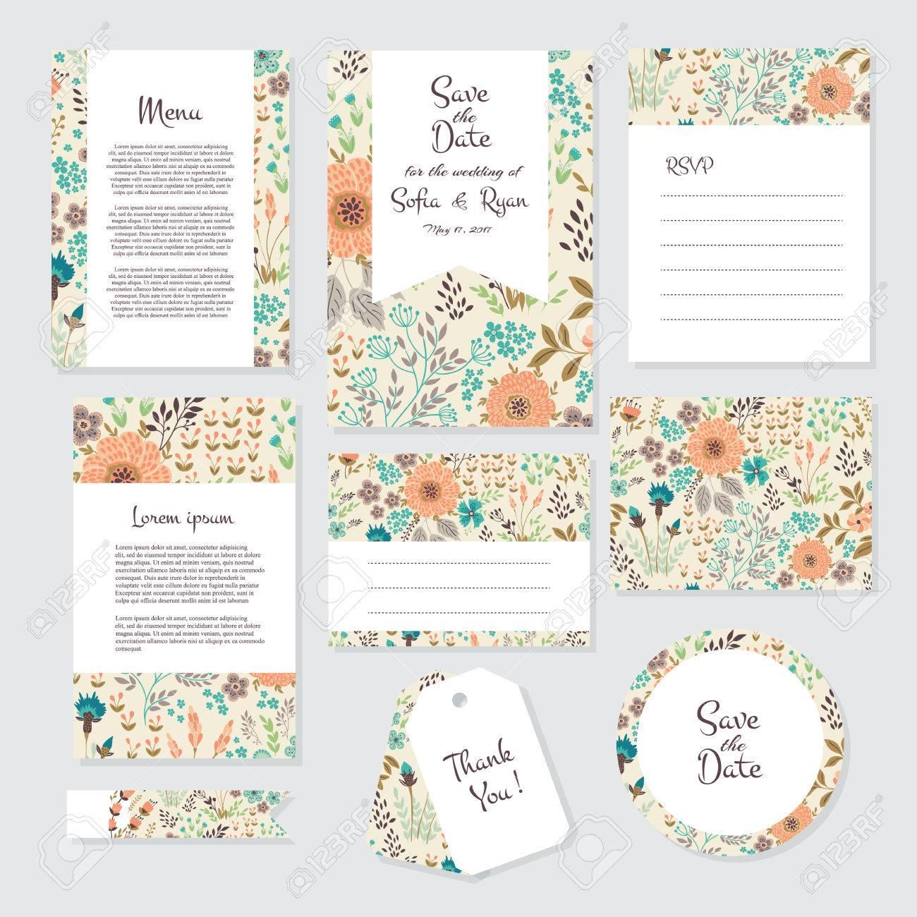 Vector Gentle Wedding Cards Template With Flower Design. Wedding ...