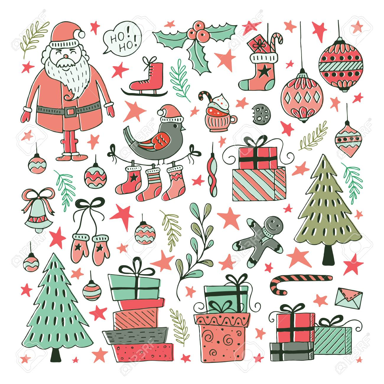 Christmas Illustrations.Vector Set Of Hand Drawn Christmas Illustrations Clipart Collection
