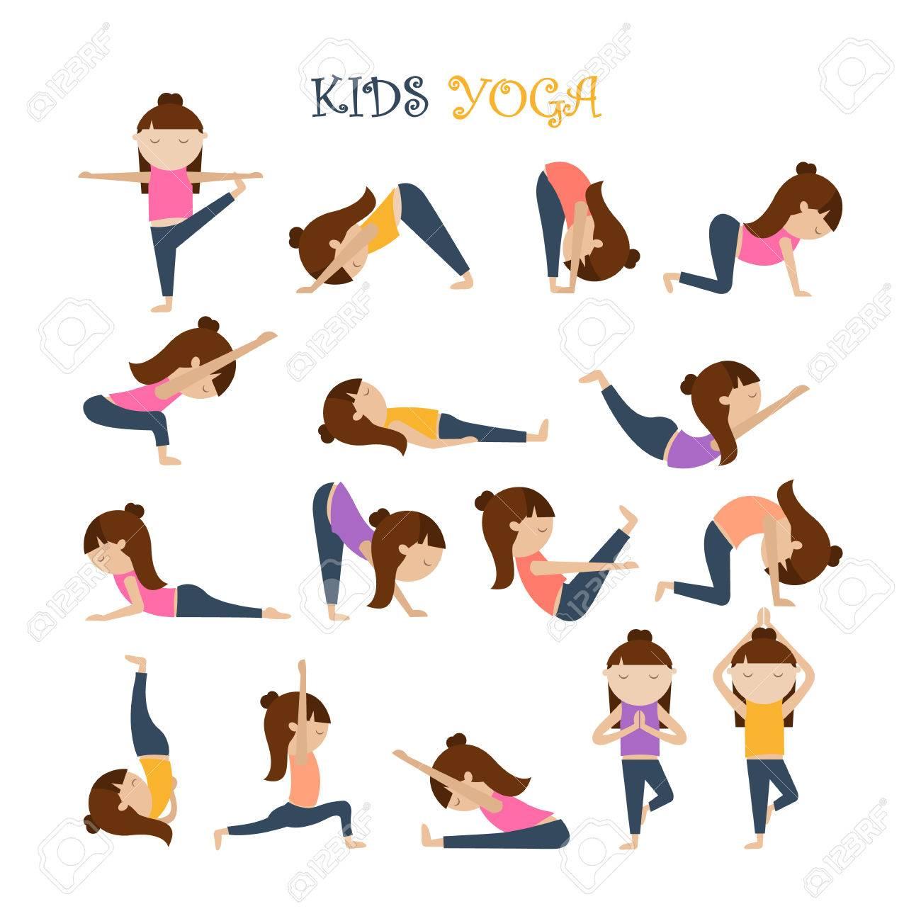 Las Posturas De Yoga Para Ninos Ilustraciones Vectoriales Clip Art Vectorizado Libre De Derechos Image 74746098