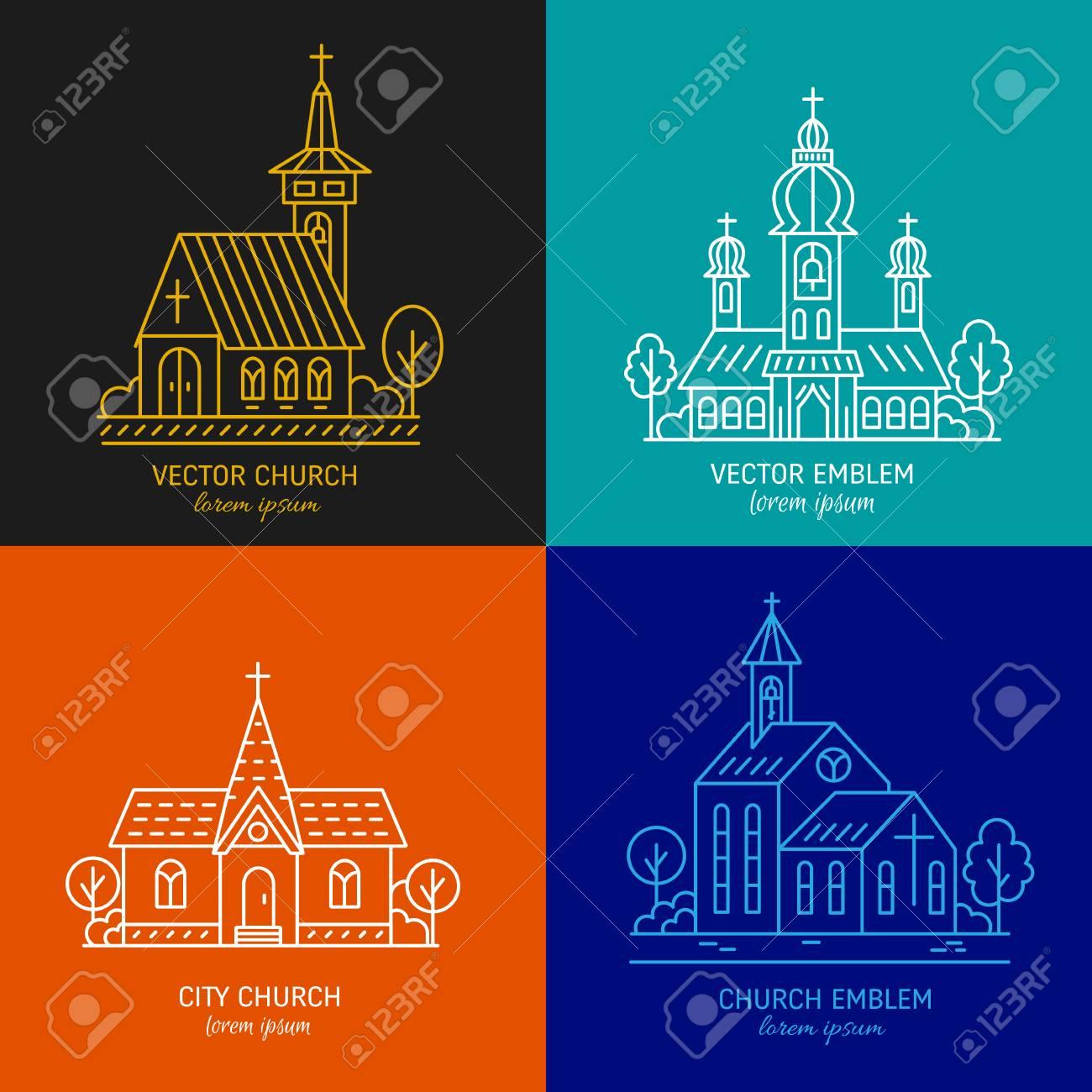 Vector Set Of Logo Design Templates Christian Church Concepts