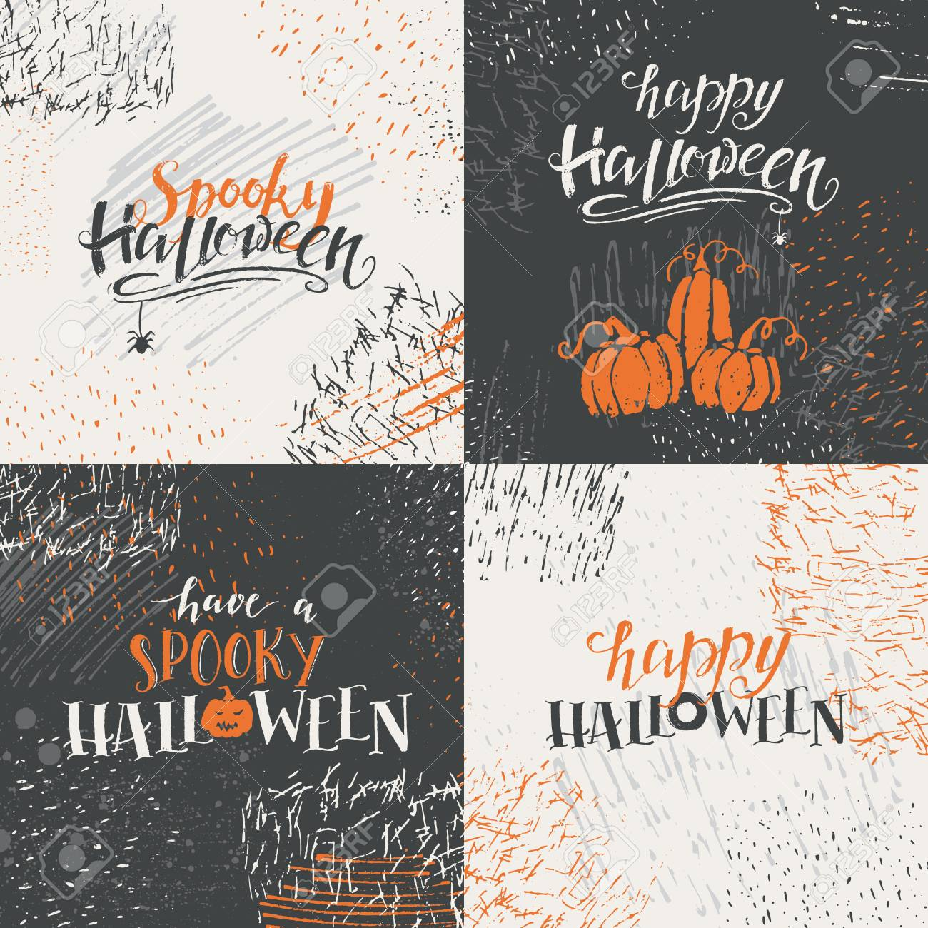 a vector set of halloween lettering greeting card halloween