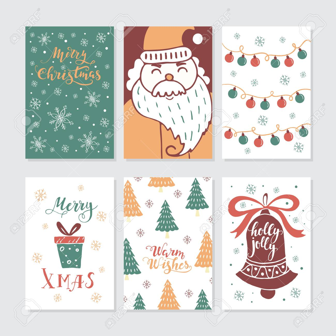 vector merry christmas greeting cards and invitations isolated
