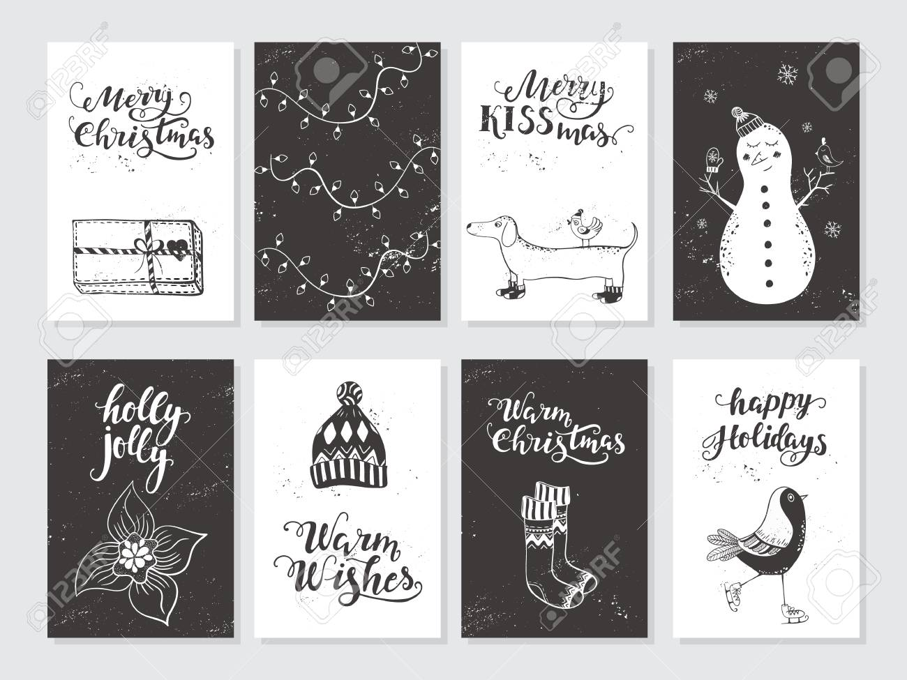 Merry Christmas Black And White Greeting Cards And Invitations ...