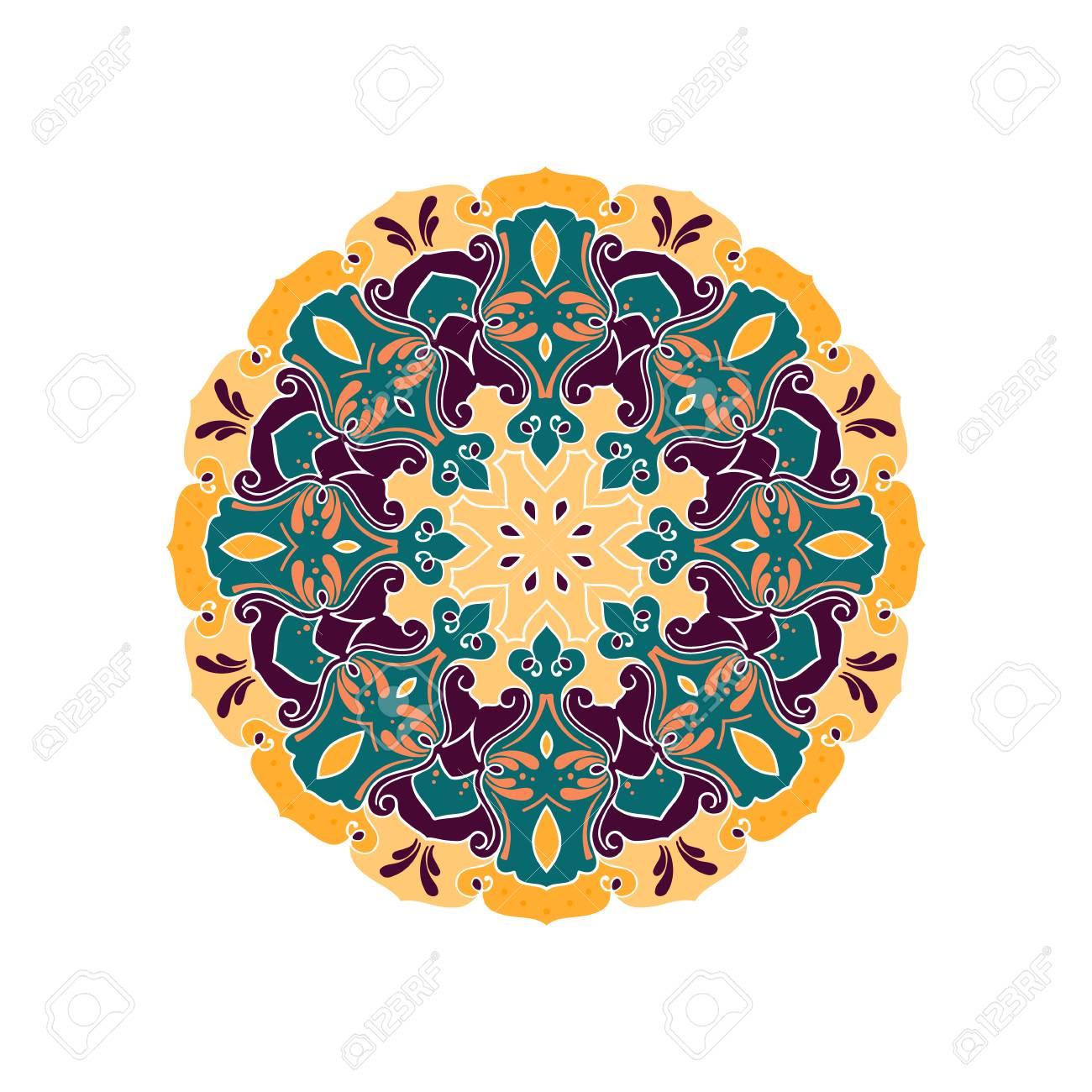 Vector Mandala. Mandala Redonda Del Contorno Ornamental. Perfecto ...