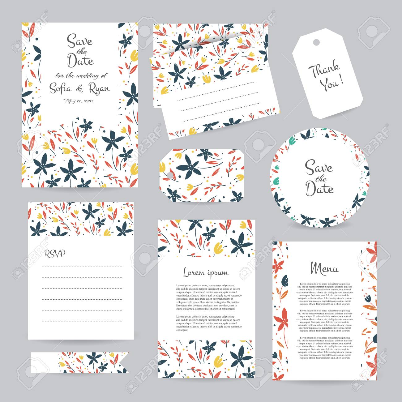 Vector Gentle Wedding Cards Template With Flower Design Wedding - Save the date wedding cards template free