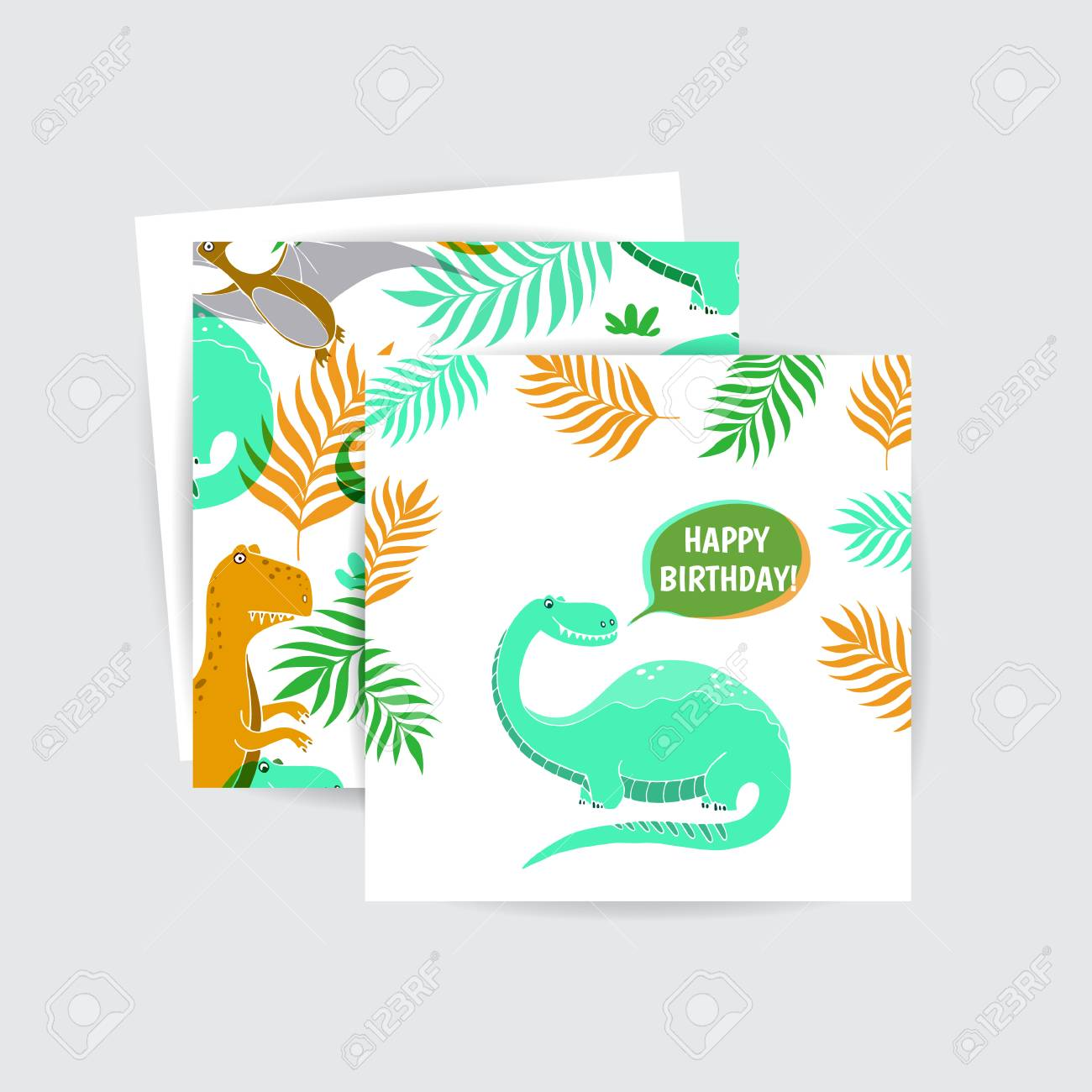 Vector Happy Birthday - Card With Funny Dinosaurs And Seamless ...