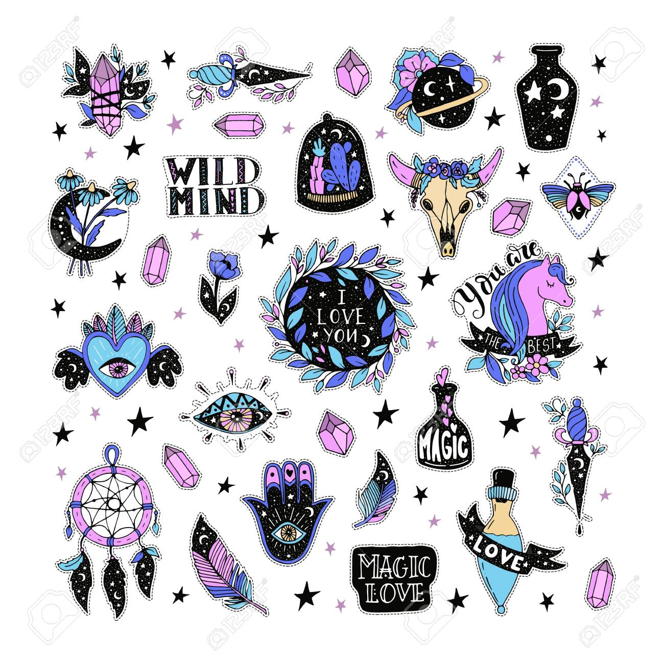 Vector patch set magic love and witchcraft. 80s-90s wild magic style design. Isolated illustrations - great for stickers, embroidery, badges. - 123500411