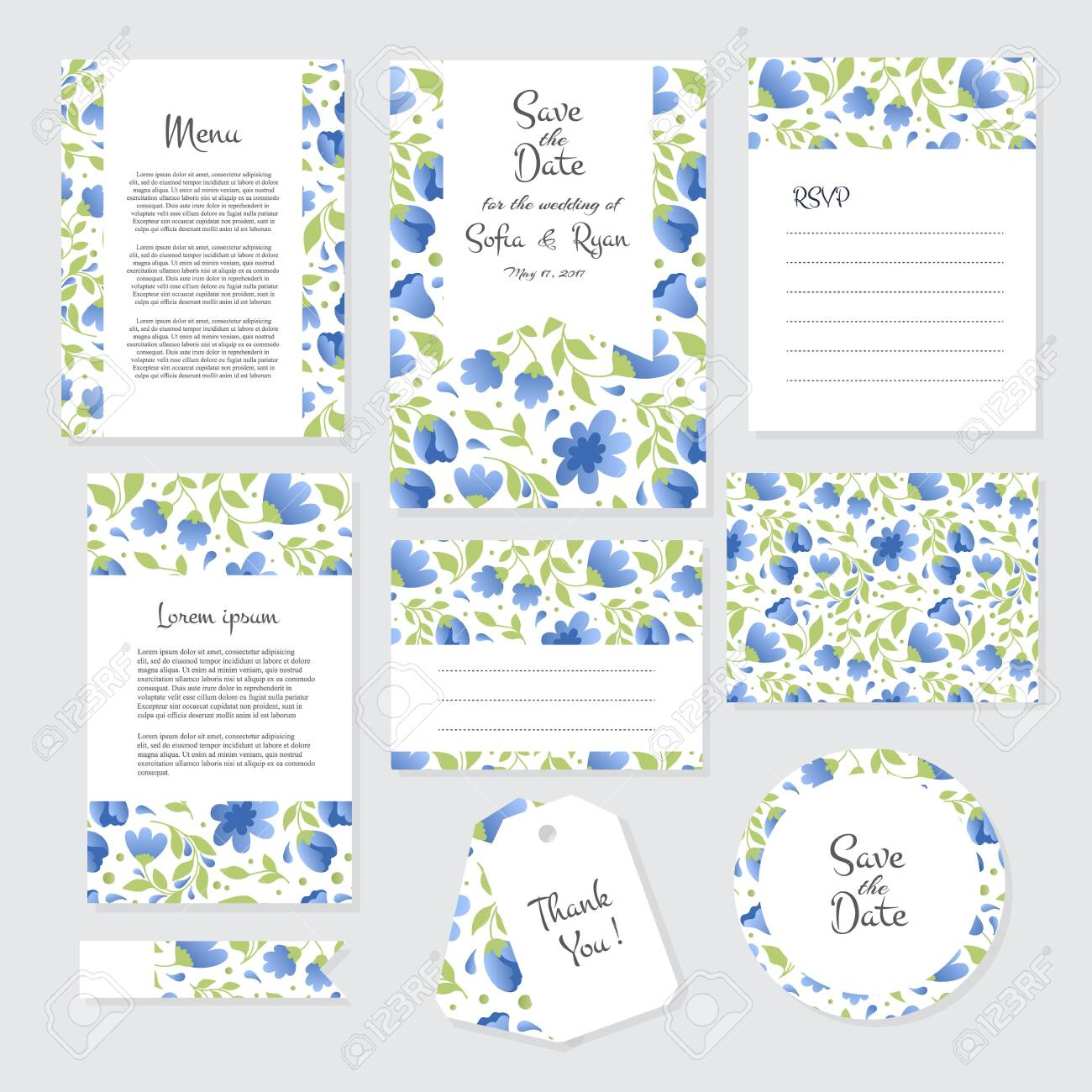 Vector gentle wedding cards template with flower design  invitation
