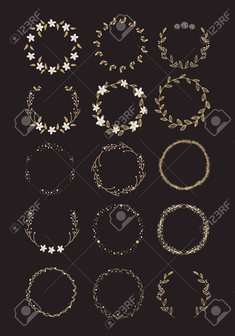 Vector big collection of hand written christmas wreaths isolated on background - 132059631