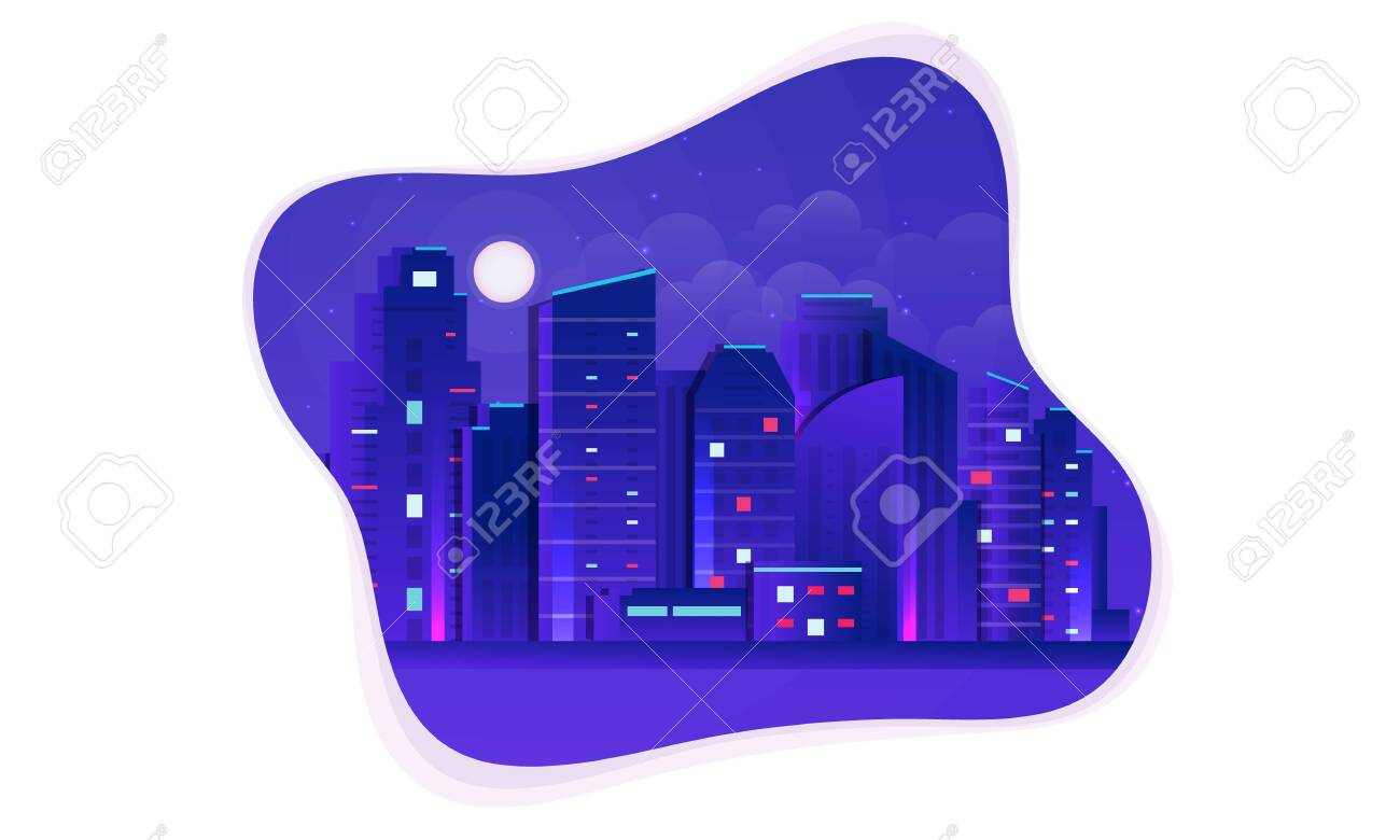 Vector Futuristic Night city illustration. Dark urban scape. Night cityscape with bright and glowing neon purple and blue lights, abstract background - 144459616