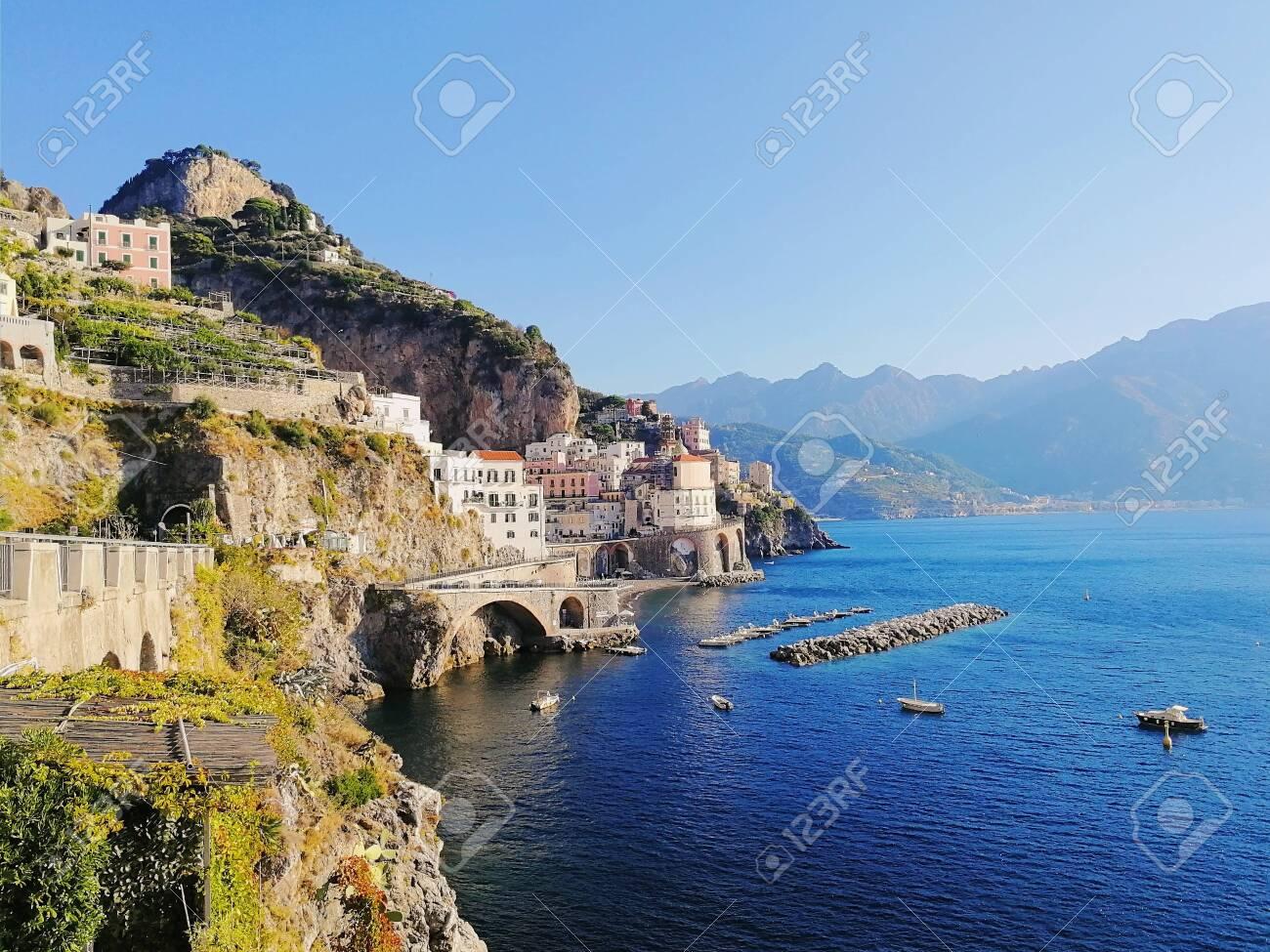 Atrani Italy Amalfi Coast View Of The City Beach And Mountains
