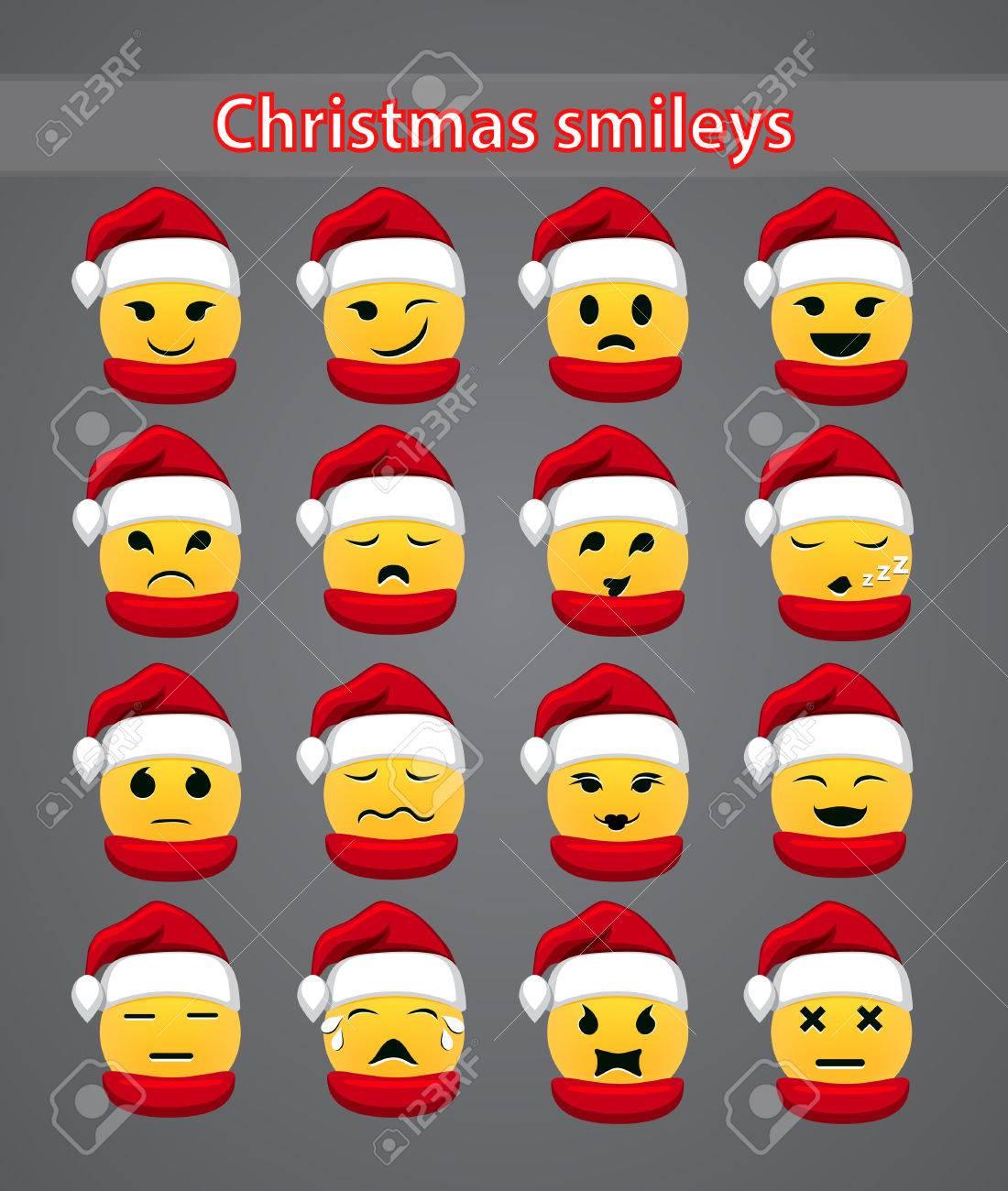 Satz Von Festlichen Weihnachten Smileys Für Forum. Lizenzfrei ...