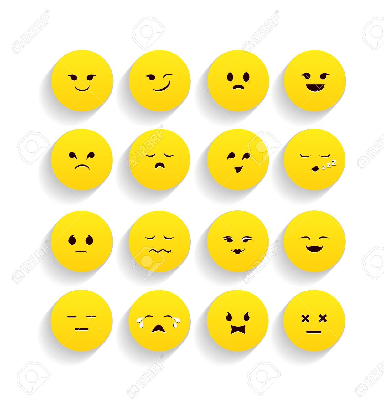 フラット スタイルの黄色い顔文...