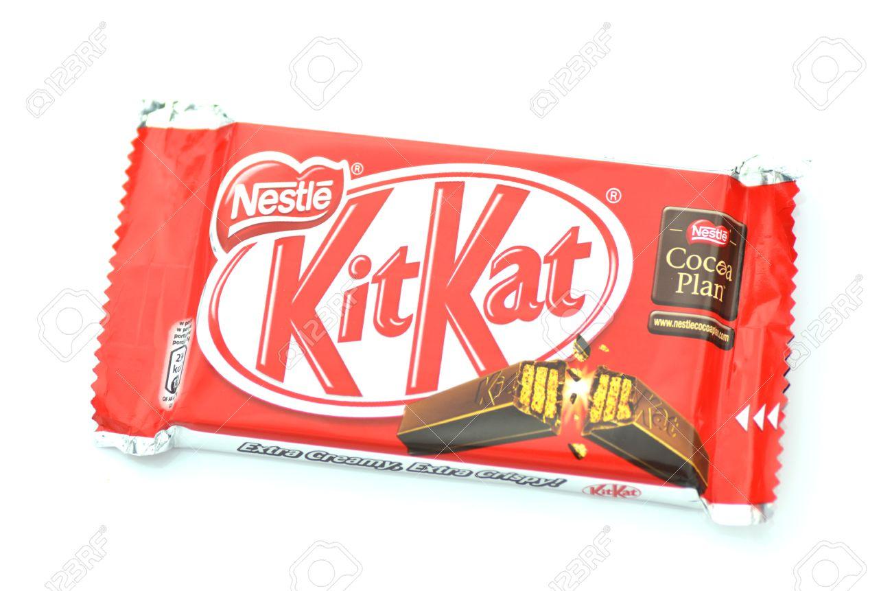 Kit Kat Chocolate Bar Isolated On White Background Stock Photo ...