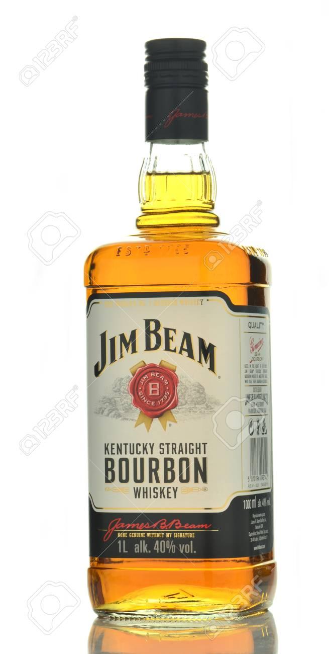 jim beam bourbon whiskey isolated on white background stock photo